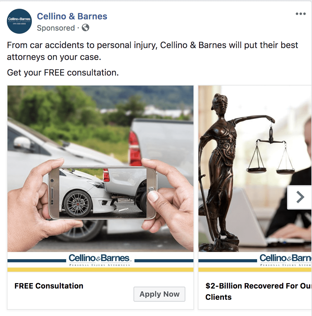 attorney free consultation offer via facebook ads