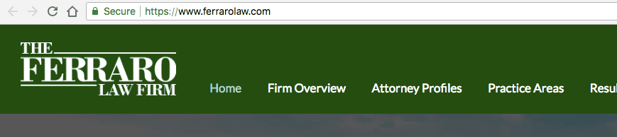 screenshot of a law firm website with green padlock secure ssl certificate