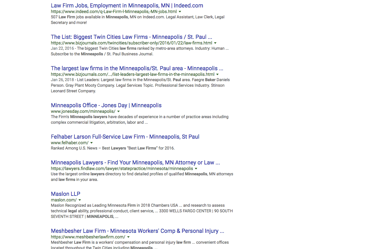 screenshot of a google search engine results page to illustrate the concept of seo for law firms in minneapolis