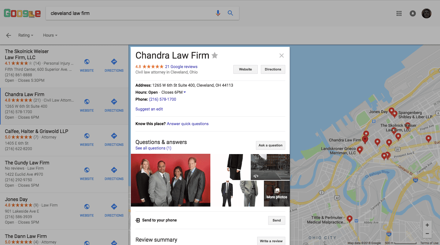 Google My Business in Maps