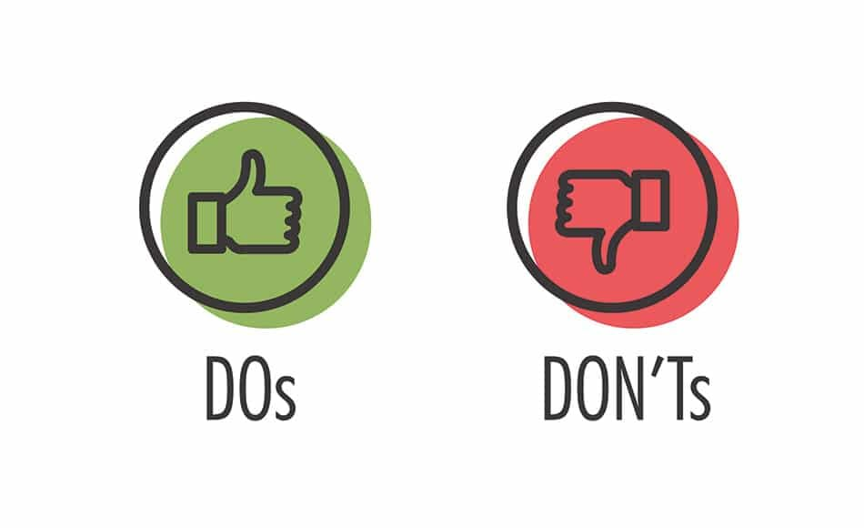 do's and don't's vector illustration of thumbs up and thumbs down