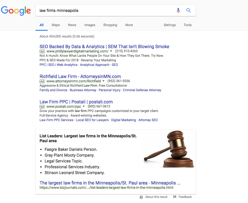 screenshot of a pay per click google search results page to illustrate the concept of ppc for law firms in minneapolis