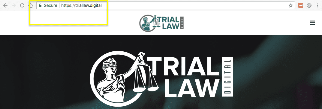 picture of trial law digital website with green padlock in address bar