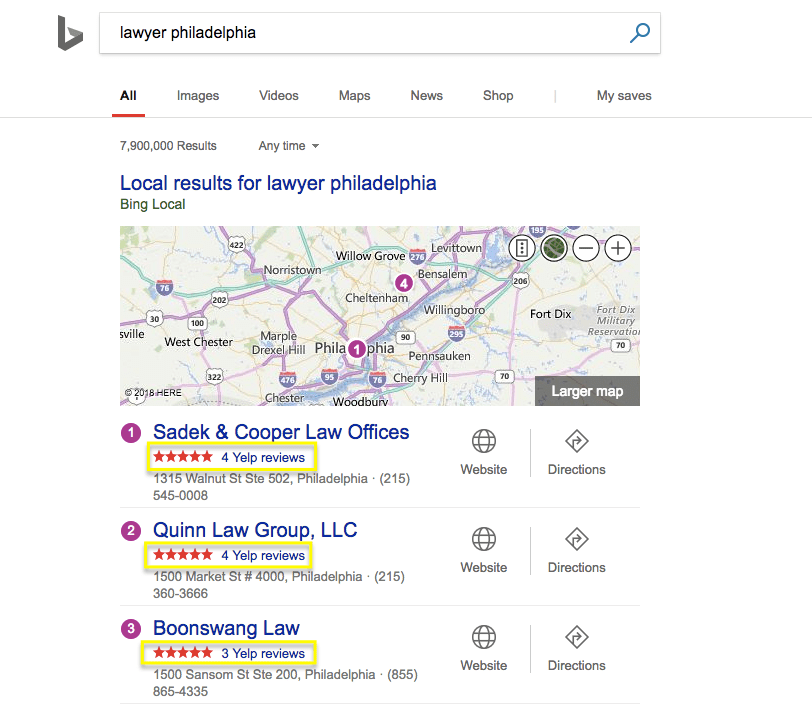 screenshot of bing local search results for a lawyer in philadelphia