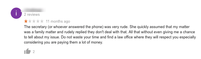 how law firms should handle negative online reviews ignoring them is bad screenshot of an ignored review