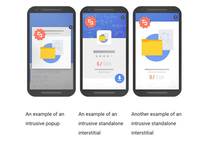 google's definition of intrusive pop-ups for a website
