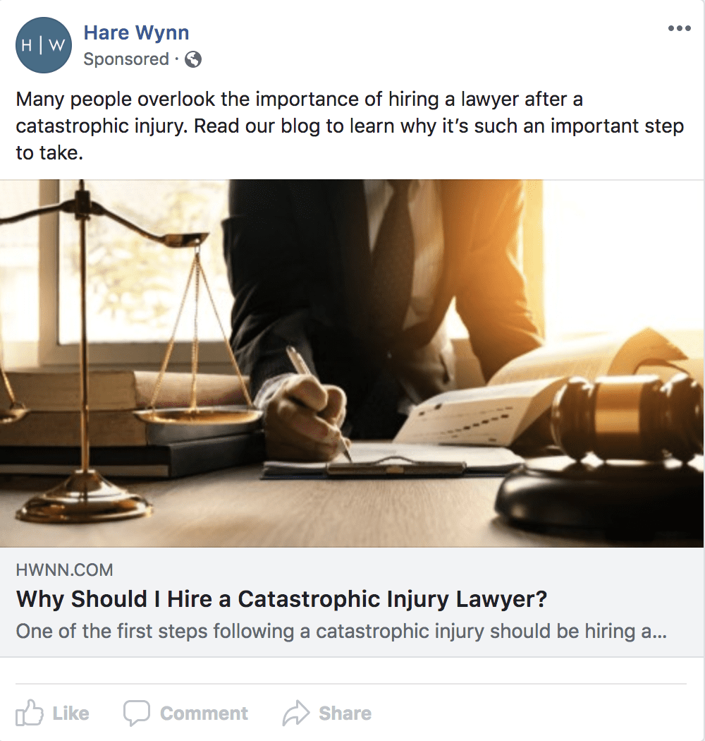 facebook ad examples for personal injury lawyers