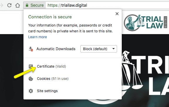 picture of connection is secure message to show a law firm's website ssl certificate is valid
