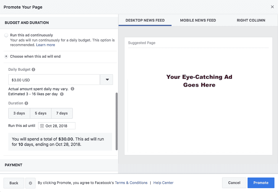 how to set a budget for your facebook ads
