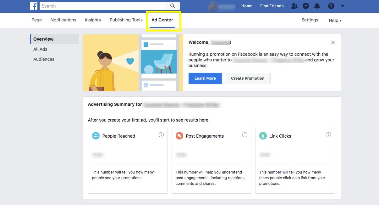 screenshot of facebook ad center