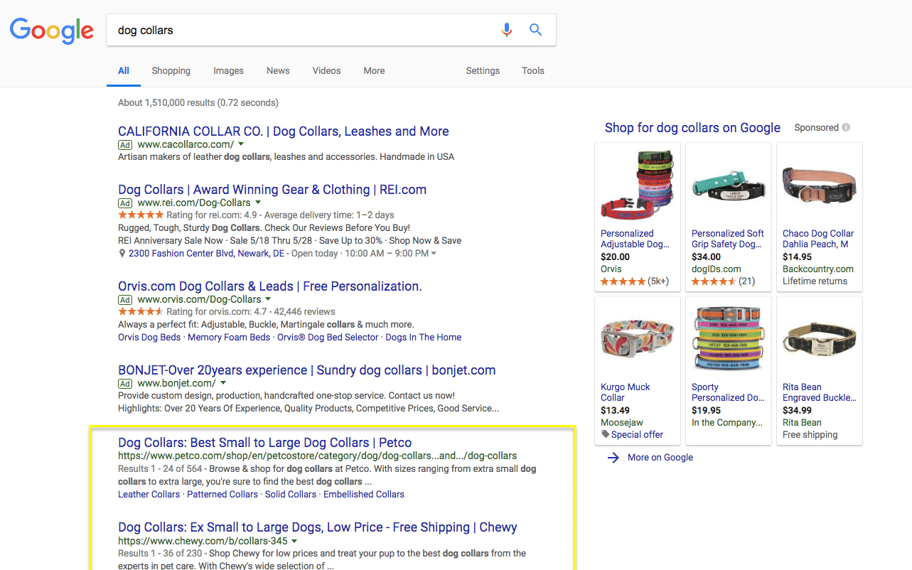 seo search results serps example