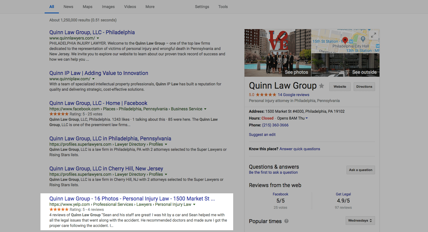 screenshot of a google local search result highlighting a philadelphia lawyer