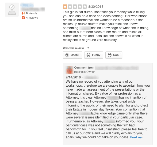 screenshot of a fake online review