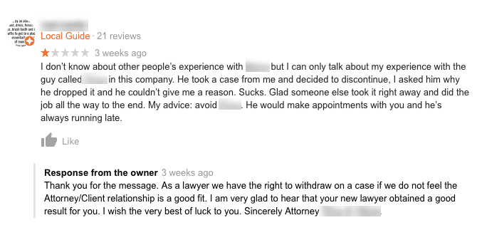 screenshot of a law firm responding to a one-star review in a civil manner