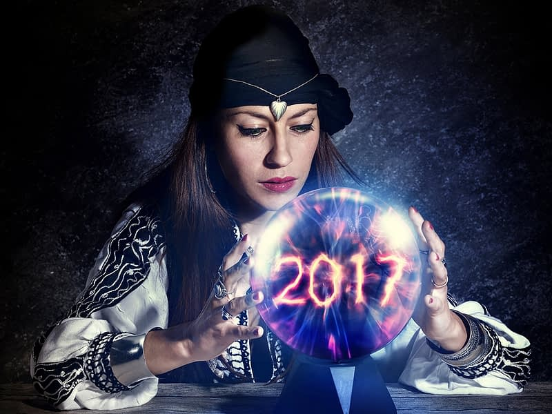 a picture of a gypsy looking chick holding a crystal ball that says 2017