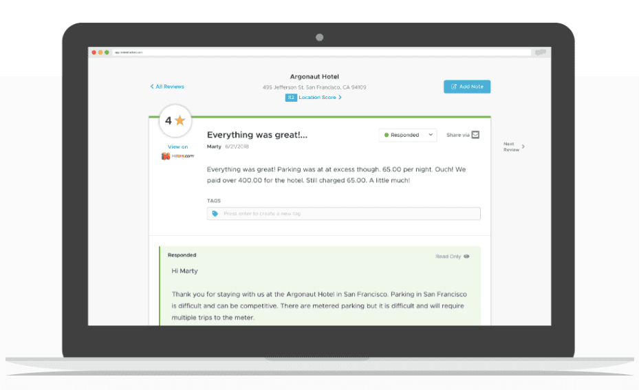 a screenshot of the reviewtrackers tool for reputation management