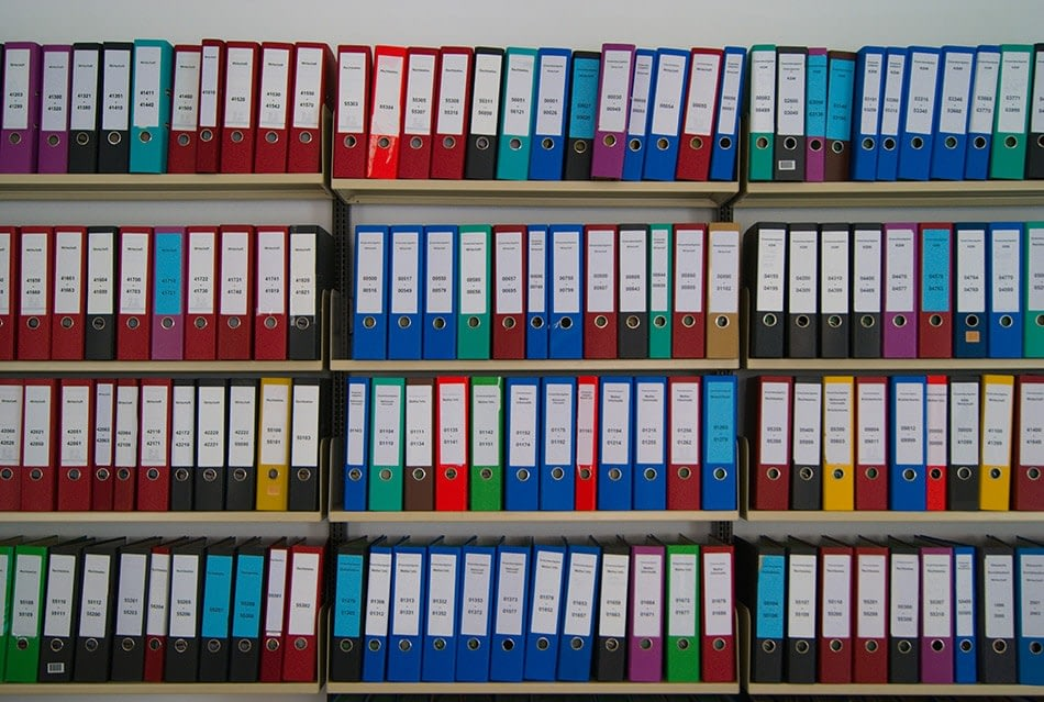 photo of shelves of colored file folders